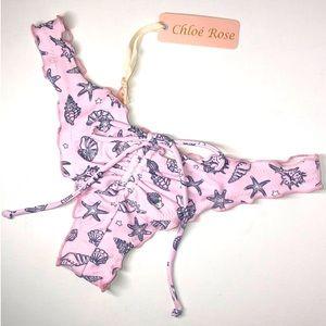 Chloe' Rose Pink Sea Shells Ruffled Bikini Bottom